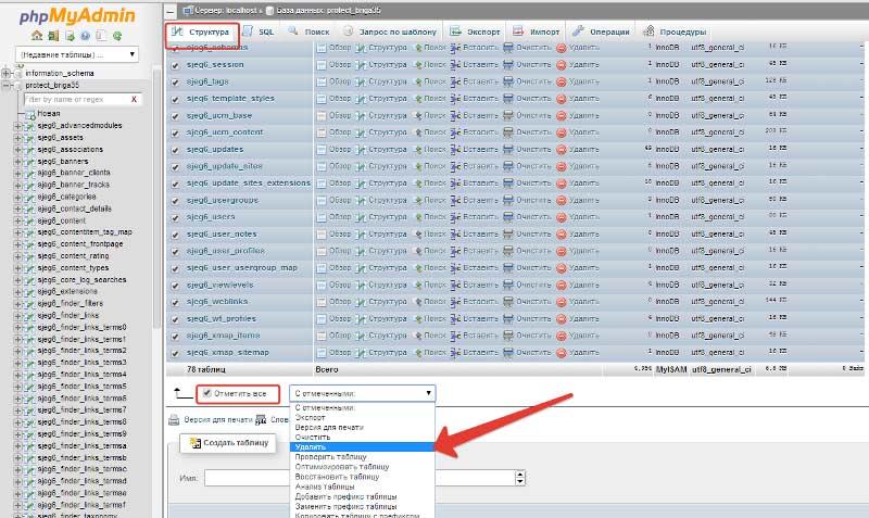 Процесс удаления базы данных MySql