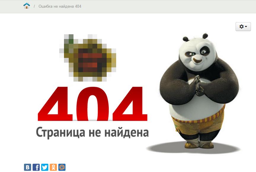 Панда на фоне страницы с ошибкой.