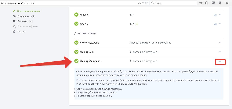 Сервис проверки наличия фильтра Минусинск на сайте.