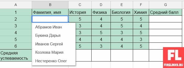 Ввод данных таблицы