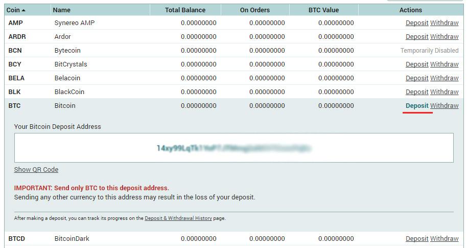 poloniex balances deposit btc