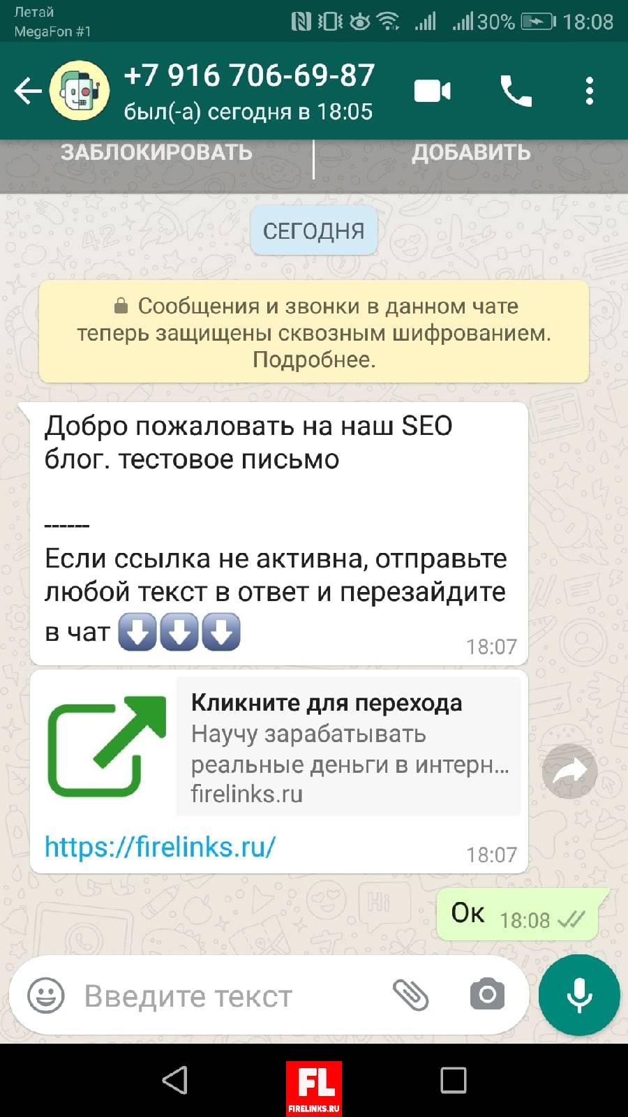 Тестовая отправка смс по whats app