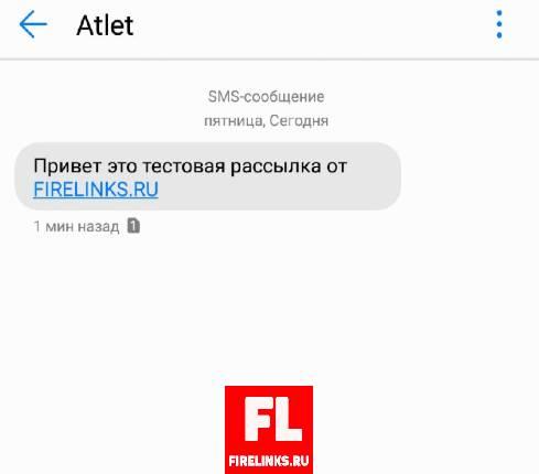 Тестовая отправка СМС на телефон