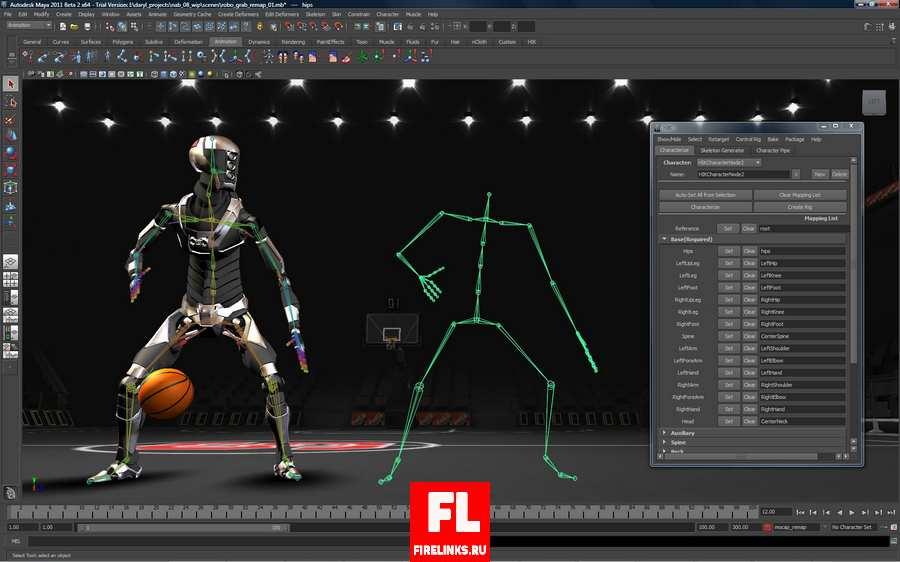 Анимация персонажа в программе Maya