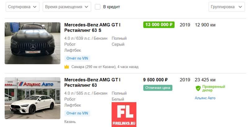 Стоимость Mercedes GT63s